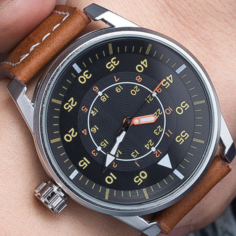 Military Quartz Watch Men Fashion Wrist Watches Casual Leather Wristwatch Quartz-watch