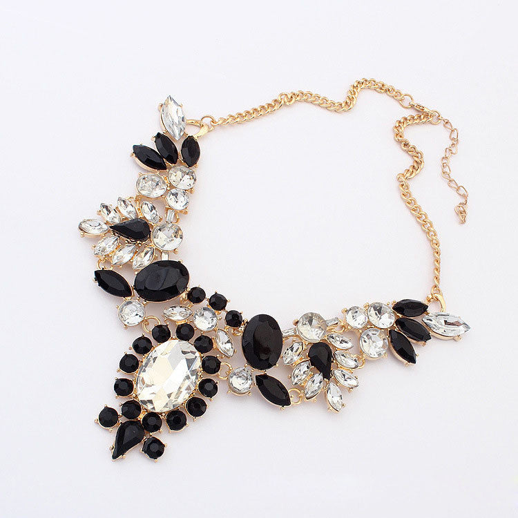 Mixed Crystal Irregular Bubble Bib Choker Statement Necklace Pendant Chain Women Colar Choker Necklaces For Gift Party