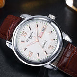 New Luxury Mens Watches Super Soft Leather Clock Men Date Day Calendar Waterproof Quartz Wrist Watches For Men