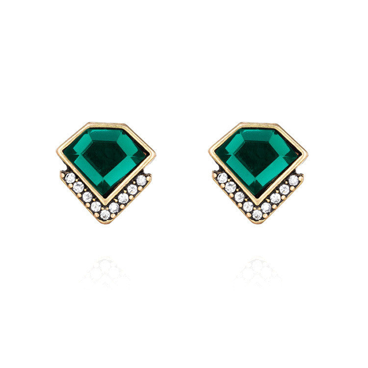 Ms Fashion Classic Emerald Geometric Crystal Stud Earrings