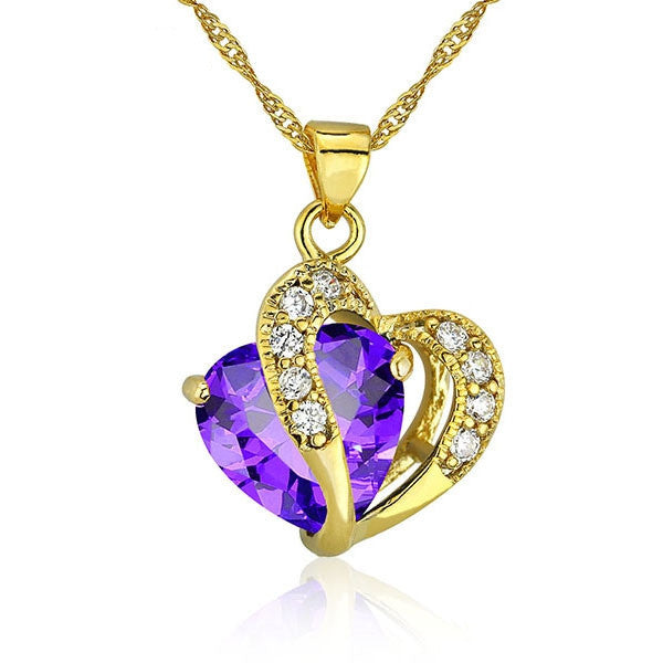 Multi-Color Heart Jewelry For Women 18K Gold Plated CZ Pendant Necklace With Chain Necklaces & Pendants