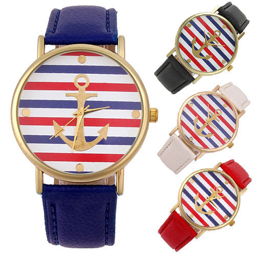 Women's Men's Multi-Color Striped Anchor Faux Leather Analog Quartz Wrist Watch