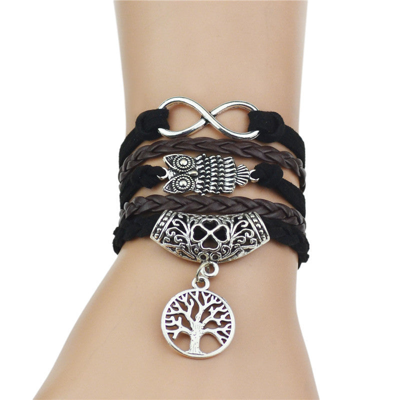 Multi-Strands Infinity Silver Color Clover Charm Leather Braid Bracelet Bangle Jewelry For Women and Men