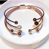 Multi-layer Rose Gold Plated Cuff Bracelets For Women Bangle Open Design Classic Fashion Jewelry wholesale Cute Gift