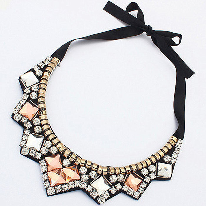 Multicolor Crystal Collar Statement Necklace Women Necklaces & Pendants Jewelry For Gift Party
