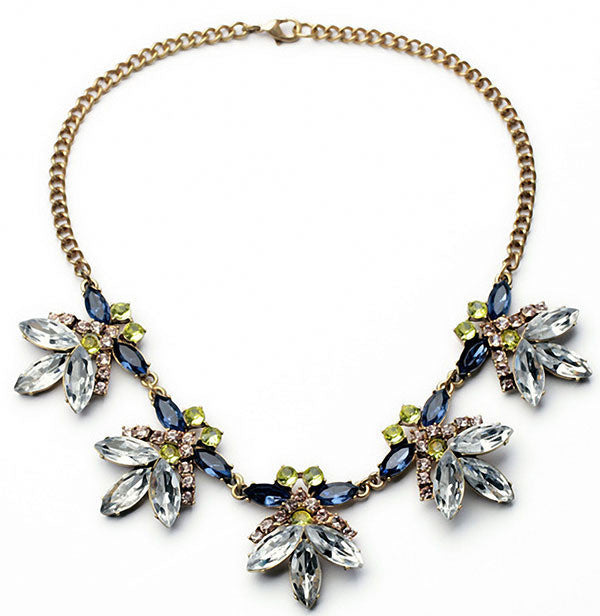Multicolor Crystal Flower Statement Necklace Women Rhinestone Necklaces & Pendants Jewelry Colar For Gift Party