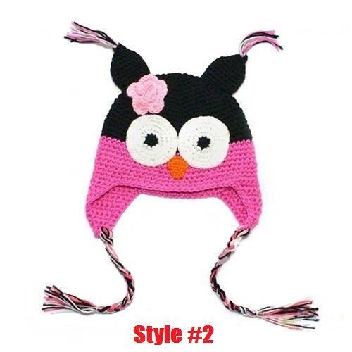 Multicolor Infant Toddler Handmade Knitted Crochet Baby Hat Owl Hat