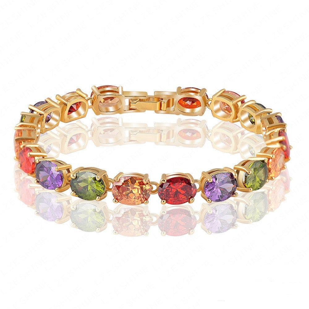 Multicolor Oval Swiss Cubic Zirconia Diamond Bracelet 18K Gold Plated Colorful Zircon Strand Bracelets