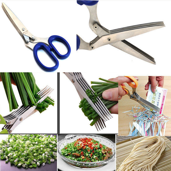 Multifunction scissors Knives multi-blade cut caraway shallot onion paper cuter good helper cooking tools