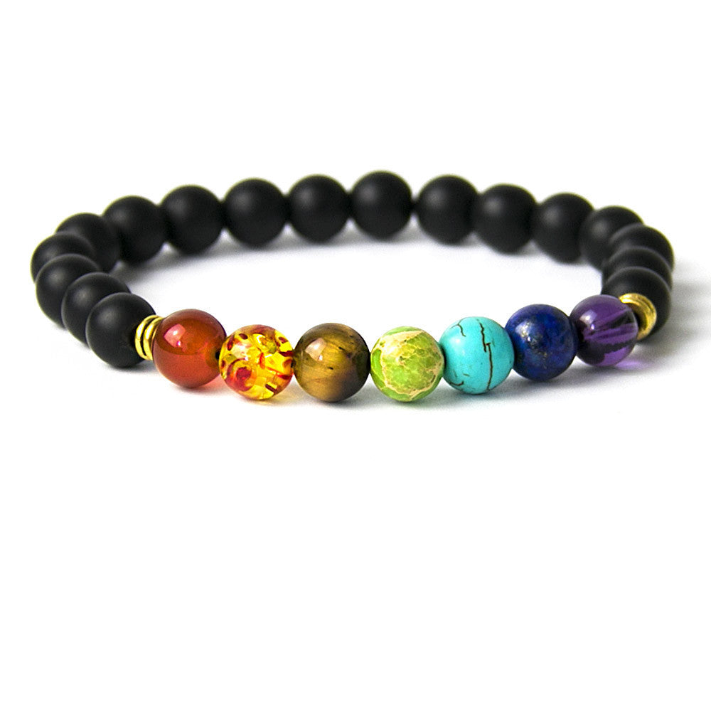 Muti-color Mens Bracelets Black Lava 7 Chakra Healing Balance Beads Bracelet For Women Reiki Prayer Yoga Bracelet Stones