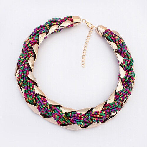 New fashion Bohemian style Punk Fashion Simple Metal braid Twist Chain necklaces & pendants woman's Necklace