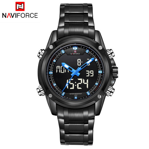 NAVIFORCE Luxury Brand Full Steel Quartz Clock Digital LED Watch Army Military Sport Watch Men Watches