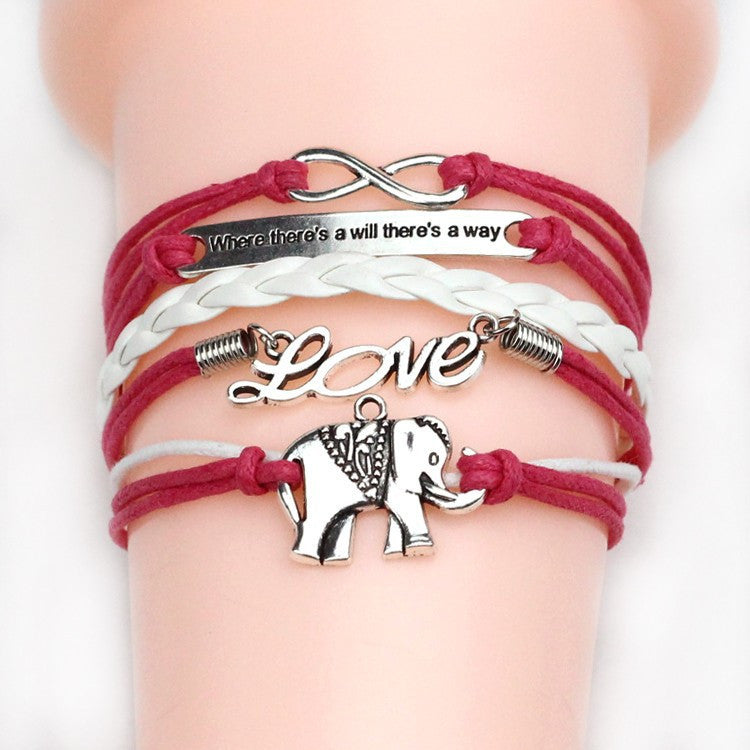 NEW Multilayer Braided Bracelets Vintage Owl Dragon Wings Infinity Charm Bracelet Multicolor Women Leather Bracelet & Bangle