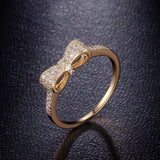 Cute Bow Knot Rings Gold And White Gold Plated Tiny CZ Paved Fashion Jewelry Best Gift For Girls And Christmas