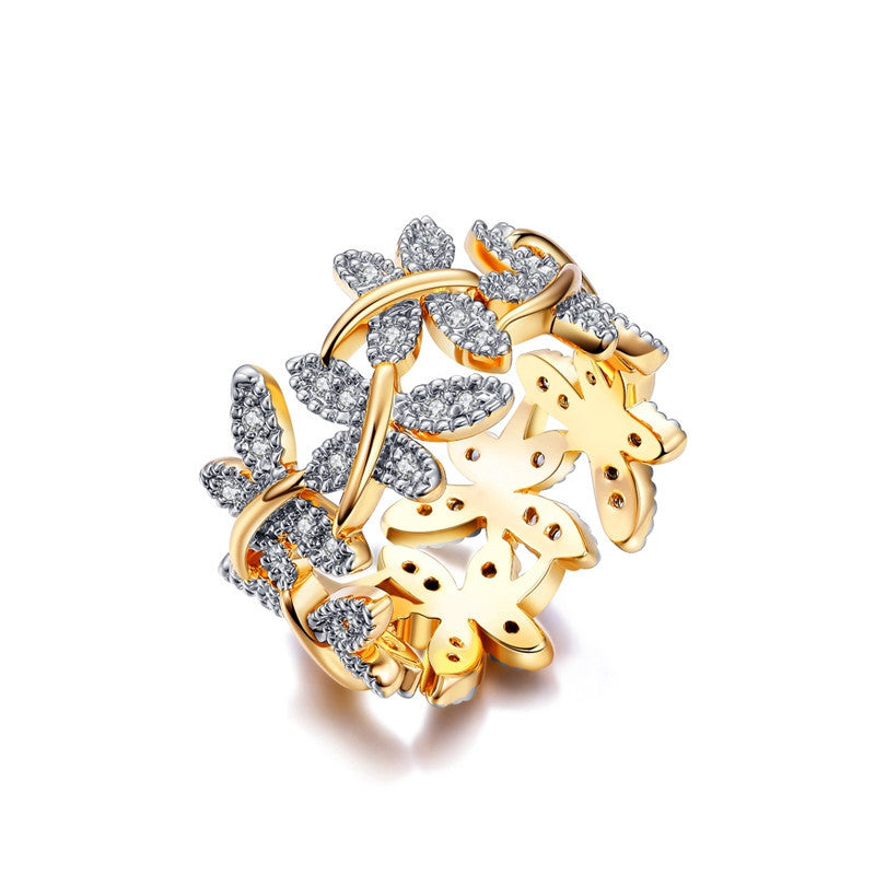 Elegant Flower Rings Composed Of 10 Butterflies Paved Tiny CZ Stone Fashion Rings For Women Perfect Accessories Jewelry