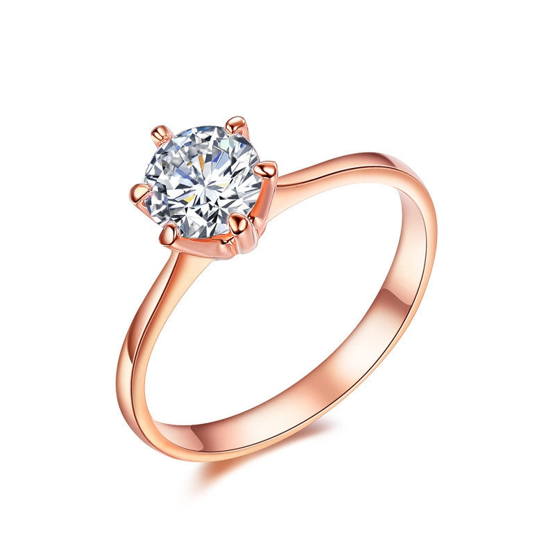 Forever Love Classic Wedding Band Rings Rose Gold Plated 6 Prong Round Sparkling AAA CZ Diamond Rings Jewelry