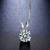 Round Necklace 2ct Top AAA CZ Diamond Collares 4 Prongs White Gold Plated Wedding Jewelry Classic Hearts And Arrows Gift