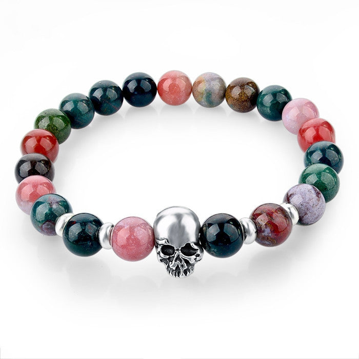 Natural Stone Beads Silver Skull Bracelets For Men Women Male Tiger Eye Casual Jewelry