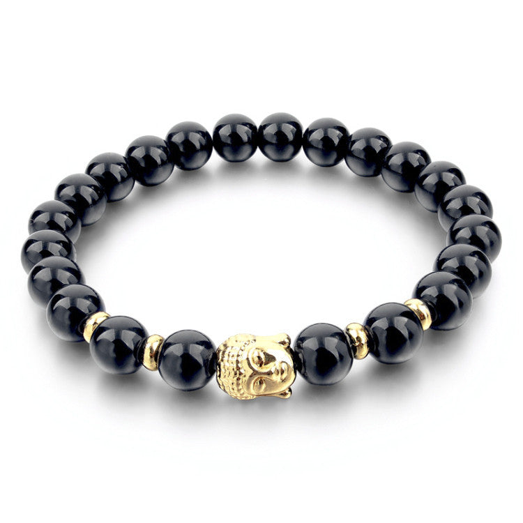 Fashion Natural Stone Bead Buddha Bracelets for Women Men Silver Turquoise Black Lava Love Jewelry With Stones Femme Pulseras Mujer