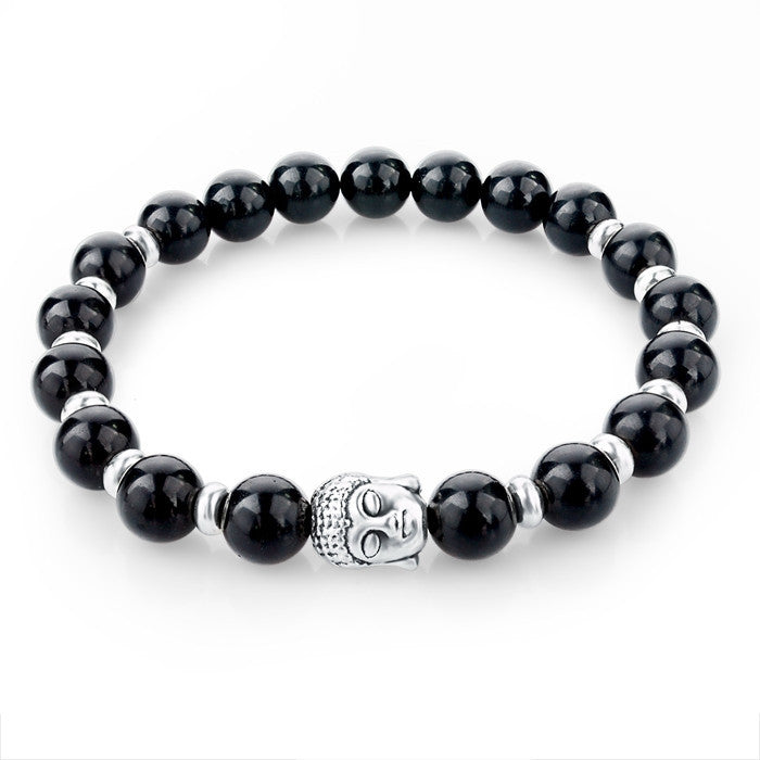 Natural Stone Buddha Charm Bracelets With Stones Beads Bracelets For Women Men Silver Turkish Jewelry Pulseira Masculina