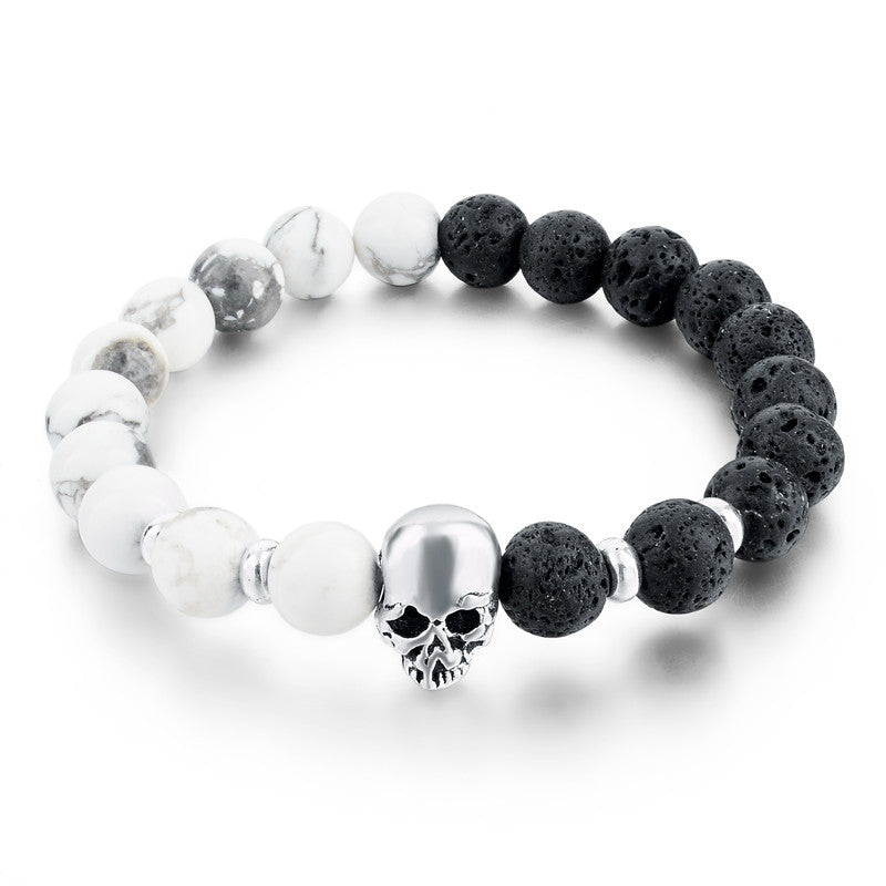 Natural Stone Skull Bracelets & Bangles Lava Beads Elastic Women Bracelets Men Jewelry Accessories