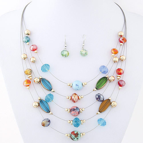 Necklace and Earrings Fashion Jewelry Sets Bohemian Crystal Beads Multilayer Jewelry Set for Women Wedding bijoux