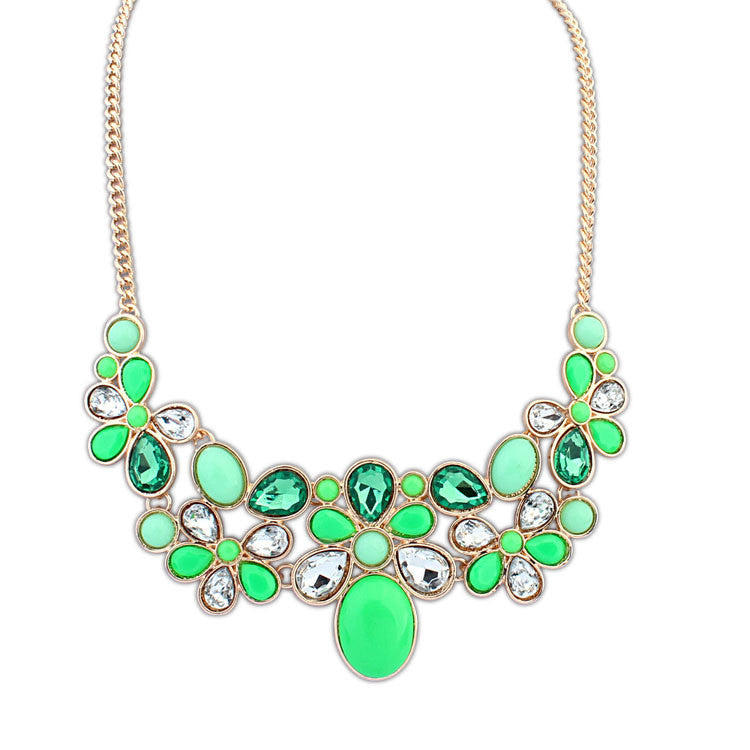 Trendy Necklaces Pendants 4 colour Link Chain Collar Long Plated Enamel Statement Bling & Fashion Necklace Women Jewelry