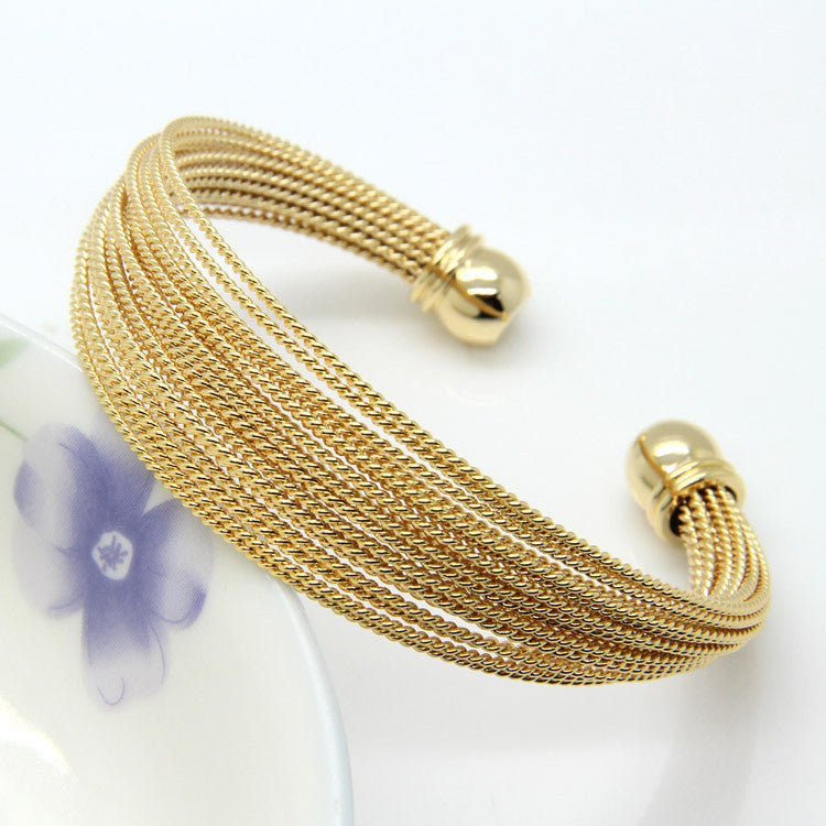 Never Fade Stainless Steel A Lot Of Twisted Wire Bracelets Bangles 18K Gold / Rose Gold / Silver Women's Fashion Jewelry