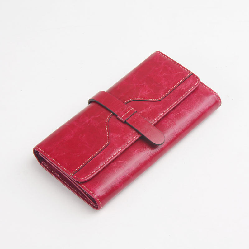 New Fashion Oil Wax Leather Retro 100% Genuine Leather Wallet Medium-Long Wallets Organizer Carteira Wallets For Woman
