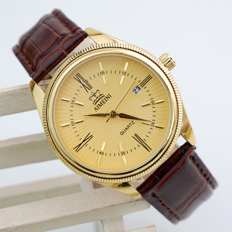 Fashion Gold Quartz Watch Men Military Leather Strap Watches Luxury Brand Casual Relogio Masculino Wristwatches Brown
