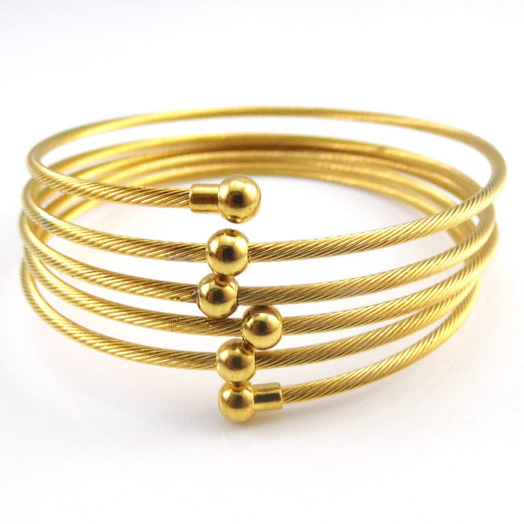 New 18K Yellow Gold Plated Twist Wire Mesh Hand Bangle Charm Bracelets Pulseiras Fashion Jewelry For Perfume Women