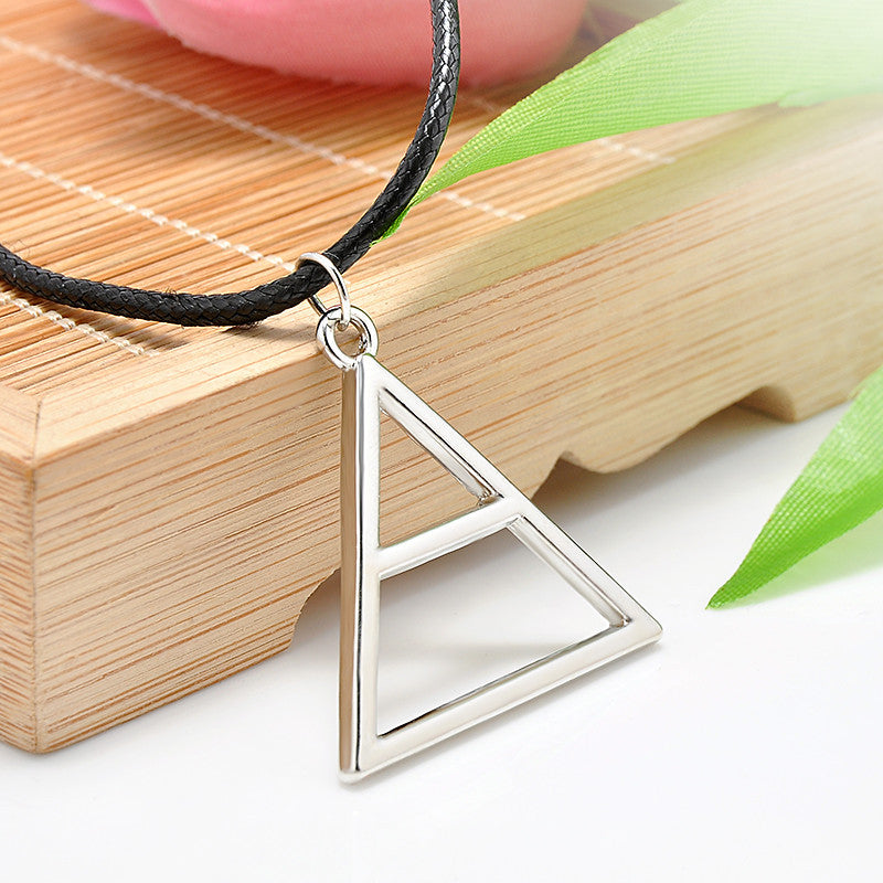 New 30 Seconds to Mars Band Style Pendant Necklace Triangle Geometric Shape Silver Leather Rope Band Necklace