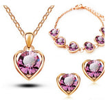 New Arrival 18K Gold & Silver Plated Crystal Heart Shape Fashion Costume Jewelry Sets for Women Necklace Earrings Sets