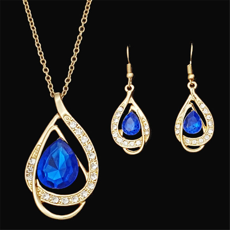 New Arrival African Costume Jewelry Sets Gold Plated Fashion Wedding Women Bridal Accessories Crystal Earring Necklace Set
