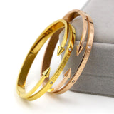 "New Arrival Conical Arrows Imitation Diamond Bracelets & Bangles 18K Gold Plated ""Eternal love"" Nail Cuff Bracelet For Women"