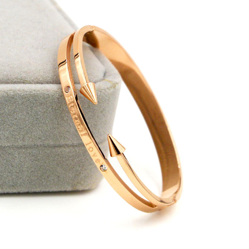 "Fashion Conical Arrows Imitation Diamond Bracelets & Bangles 18K Gold Plated ""Eternal love"" Nail Cuff Bracelet For Women"