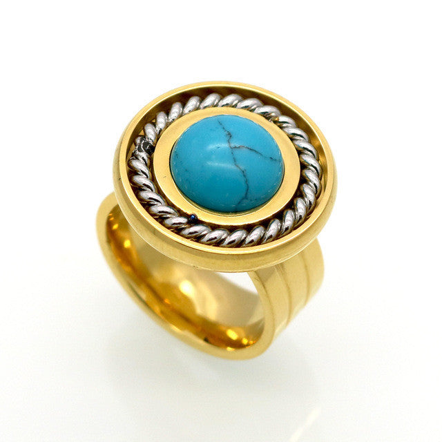 New Arrival Fashion Jewelry Vintage Stainless Steel Antique 18K Gold And Silver Plated Personality White Round Turquoise Ring