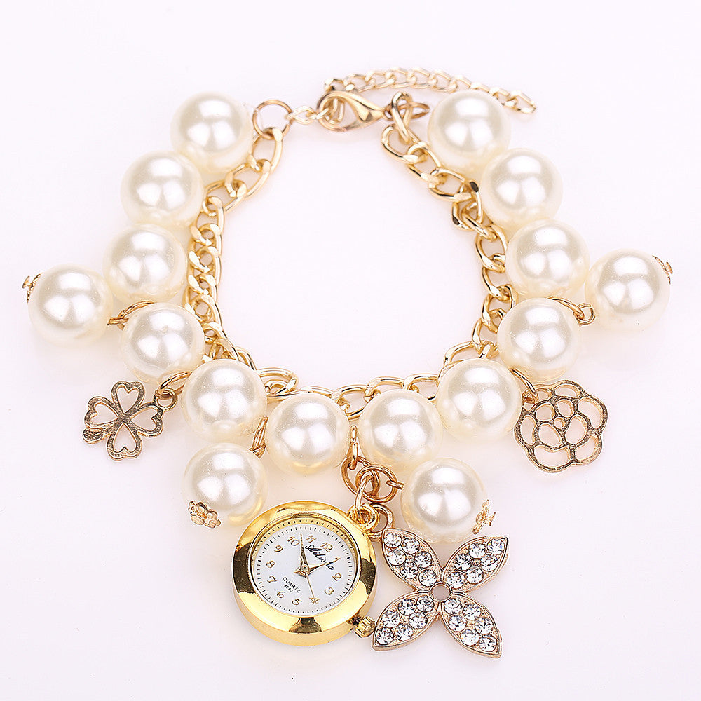 New Arrival Fashion Pearl Bracelet Watch Elegant Clover Chain Watch Women Watches Relogio Feminino Relojes Mujer
