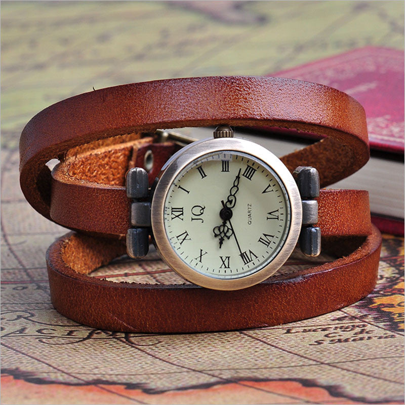 New Arrival Vintage Women Watch Genuine Cow Leather Fashion Wrap Quartz Watch Ladies Wrist Watch Clock Relogio Feminino