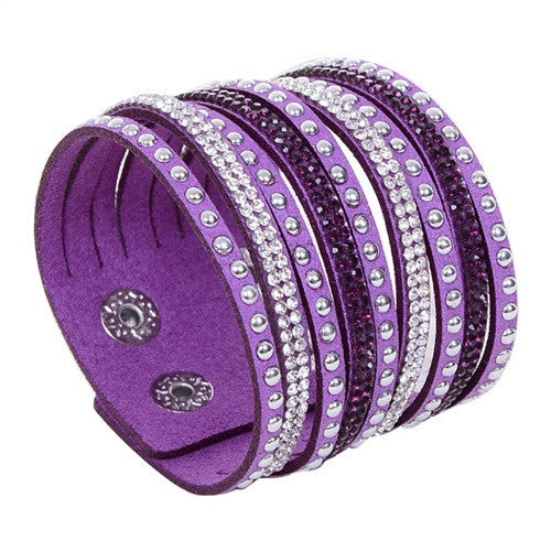 New Arrival Women's Vintage Multilayer Wrap Rivet Rhinestone Suede Cuff Bangle Wristband Bracelet
