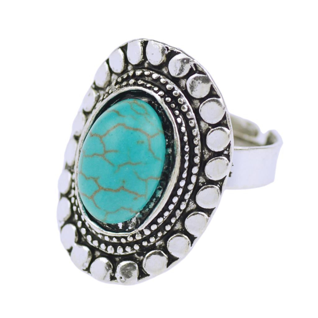 New Arrive Summer Style Vintage Retro Tibet Silver Plated Color Special Oval Turquoise Finger Ring for Women Fine Jewelry Gift