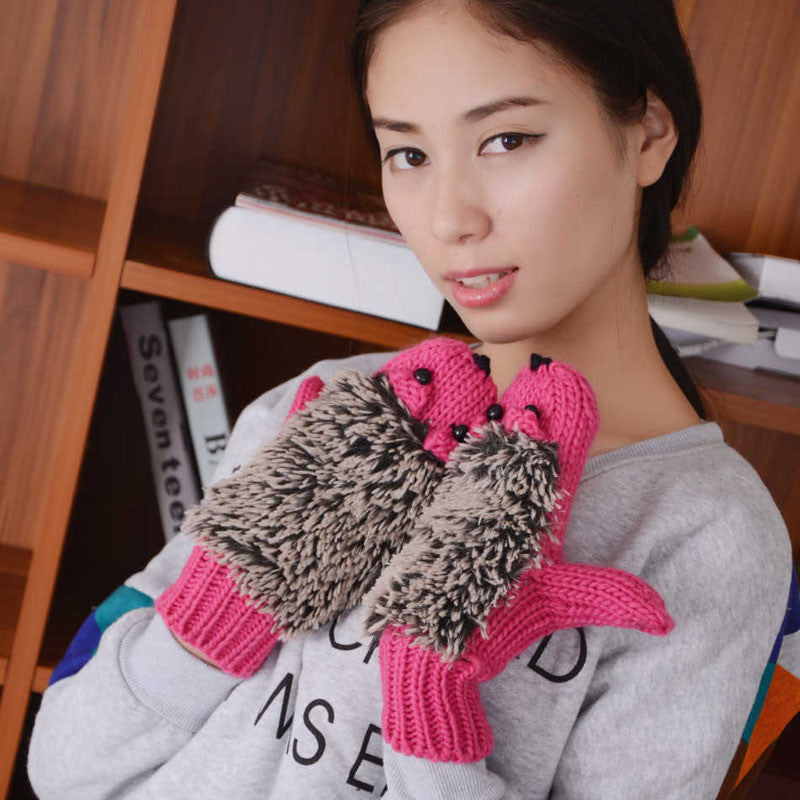 New Attracive Autumn Winter Gloves Women Mittens Cute Lovely Cartoon Knitted Hedgehog Glove Guantes Tacticos Girls Luva