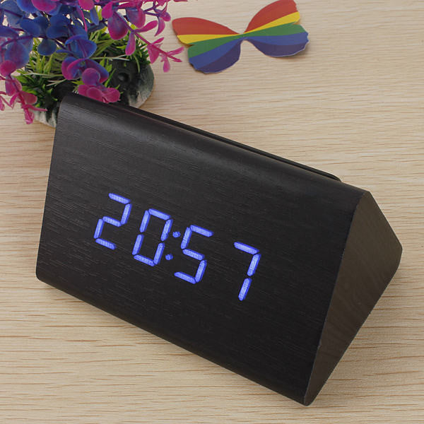 High Quality Black Wood Triangular Blue LED Alarm Digital Desk Clock Wooden Thermometer
