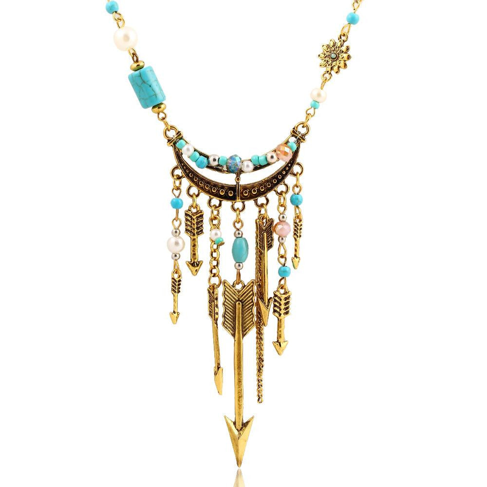 New Bohemia Pendant Turquoise Beads Link Chain Necklace Anchor Arrow Alloy Plated Gold Necklaces Fashion Jewelry For Women