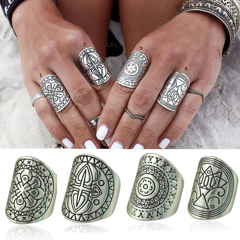 New Bohemia Vintage Jewelry Unique Carving Tibetan Silver Plated Ring Set for Woman 4PCS/Set