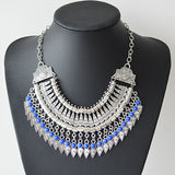 New Bohemian Fringe Tassel Collar Statement Necklace Vintage Boho Gypsy Silver Festival Turkish Ethnic Chunky Pendants Necklace