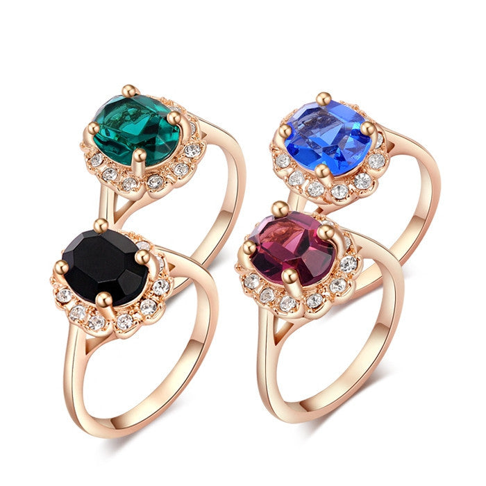 Brand New Crystal Big Rings For Women Gold Plated 18K Ring Fashion Jewelry Nickel