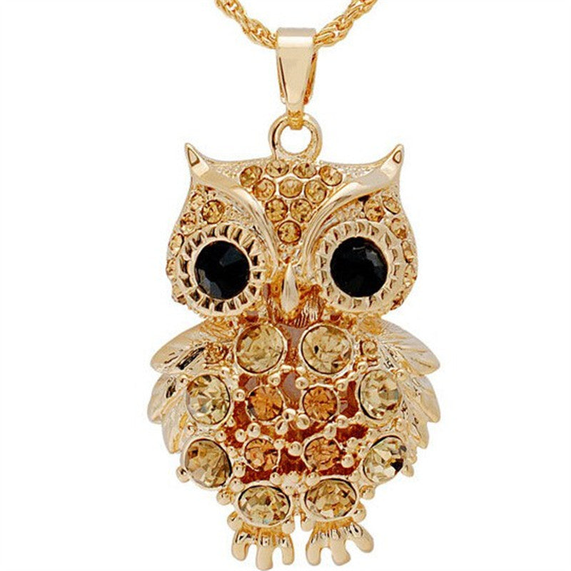 New Brand Charms Owl Necklaces&Pendants Vintage Crystal Gem Cubic Zircon Diamond 18K Gold Long Chain Necklace Women Jewelry
