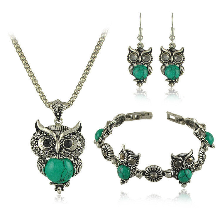 New Brand Design Owl Jewelry Sets Tibetan Vintage Silver Retro Turquoise Stone Pendant Necklace drop earrings Charm bracelet Set