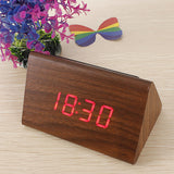 New Brown Wood Triangular Red LED Alarm Digital Desk Clock Wooden Thermometer